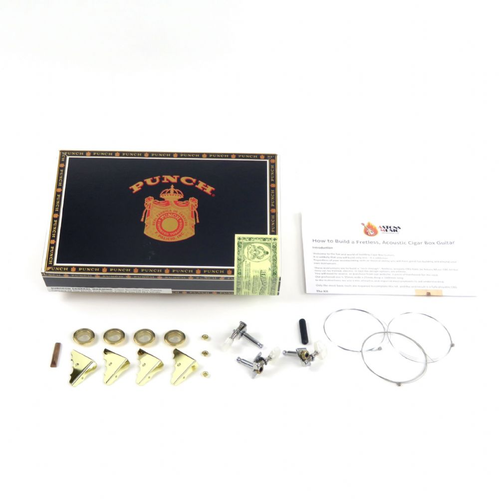 Cigar Box Guitar Kit 3 string Punch Box plus components